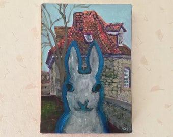 A Visitor to Göttingen: Original Acrylic Painting by Kyoko Watanabe