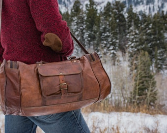 Rustic Leather Duffel Travel bag - 1920's Vintage inspired Handmade bag/CarryOn/School/Gym/Luggage/Hiking/Mountains/Adventure/sale