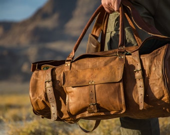 Rustic Leather Duffel Travel bag - 1920's Vintage inspired Handmade bag/CarryOn/Luggage/School/Gym/Hiking/Mountains/Adventure/Sale