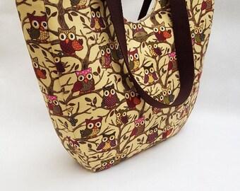 Large owl tote bag, owl tote handbag, owl beach bag, owl shopper bag, large owl print handbag, owl lover bag, owl lover gift, brow owl bag