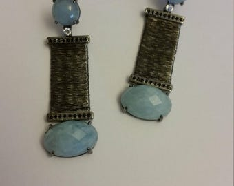 Earrings in silver. Titr. 925%. with natural stone and soft headband