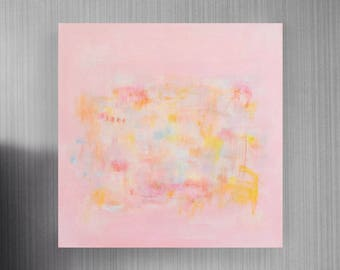 Feelings that Become You: ORIGINAL abstract painting, large 20x20 on stretched canvas, Pink Contemporary Modern Art, Ready to Hang Wall Art