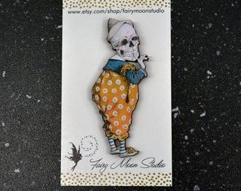 Skeleton Clown - Wood Laser Cut - Altered Art Pin / Brooch