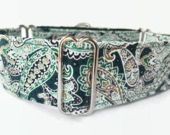 "Martingale Dog Collar 1.5"" Green Paisley // Dog Lover Gift // Dog Accessories // Greyhound Collar // Sighthound Collar"