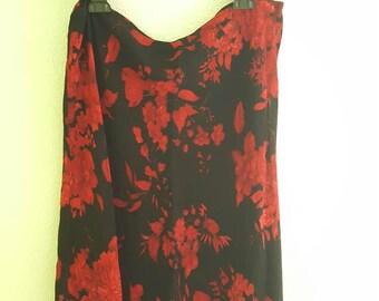 Vtg 90s Black Digital Skirt with Red Flowers Y2K