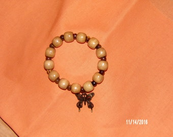 N405 Wood Bracelet with butterfly charm