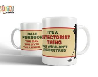 Metal Detecting, custom personalised Mug, novelty mug, retro style, retro mug, Detectorist, Metal Detector