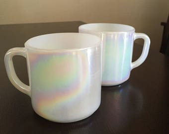 Two Federal Glass Pearl Lustre, Moonglow Mugs