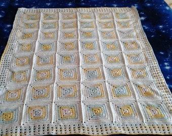Delicate crochet newborn, baby extra fine wool  blanket - delicata copertina neonato di lana sottile colori neutro