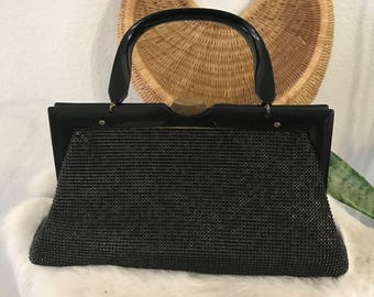 1950s - Vintage metal mesh Handbag - Whiting and Davis - black and gold - mesh purse
