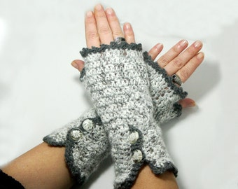 "50% OFF Crochet Gloves: ""GRAY GLOVES"" Fingerless Gray mittens, Hand Warmers Hand Knit Mittens, Ladies Winter Mittens Winter accessory A177"