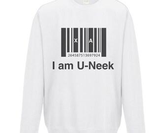 I am u-neek - kids sweatshirt - Inspirational Quote - White - Unique