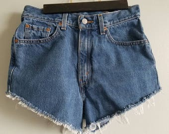 LEVIS denim cutoff shorts / jorts / 90s / red label / 512 / womens / festival /