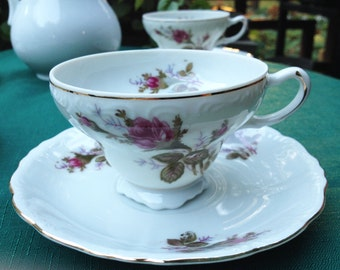 Set of 4 Vintage Rose Teacups