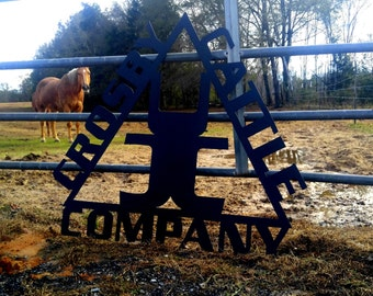 Farm Sign, Custom Metal Sign, Entry Porch Sign, Gate Entry, Mailbox Sign, Post Sign, Fence Sign, Cattle Company Sign, Gate Sign, Metal Sign