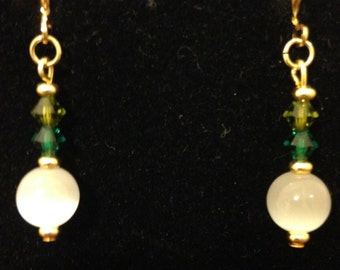 Wonderfully White Cats Eye and Swarovski Crystal Earrings