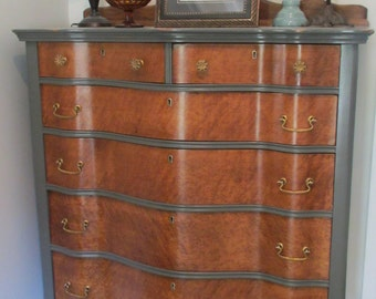SAMPLE - Not for Sale - Birdseye Maple Antique Dresser Chest of Drawers