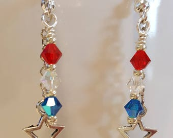4th of July Earrings, Fourth of July Earrings, Red, white, Blue Earrings, Silver, Patriotic Earrings, Independence Day Jewelry, crystals