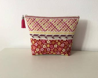 toiletry case flowers graphics in beige fabric and warm colours, multicoloured