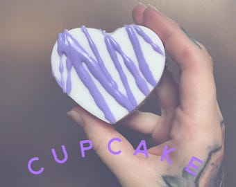 READY TO SHIP! Cupcake scented soap, drizzle soap, heart soap, shea butter soap