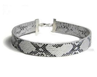 SNAKE SKIN CHOKER, kim kim snake skin, leather choker, silver snake skin, snake skin accessories, snake skin jewelry