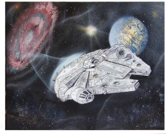 star wars millenium falcon inspired painting