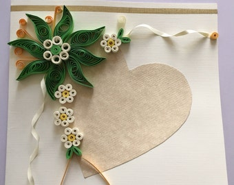Wedding card. Quilled greeting card. Green flower + Heart