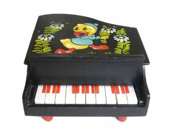 Vintage Children's wooden Piano Musical Toy. Musical Instrument Piano
