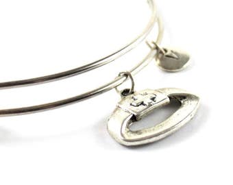 NURSE HEADDRESS bangle, silver nurse bracelet, nurse charm, initial bracelet, adjustable bangle, personalized jewelry, swarovski birthstone