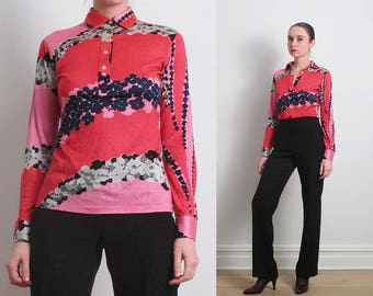 70s Pink Abstract Floral Jersey Shirt / S