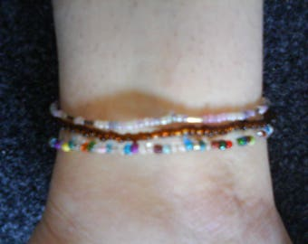"LoliRosa Set of 3 ""Originals"" Glass Seed Bead Stretch Anklets Summer Festivals Beach"