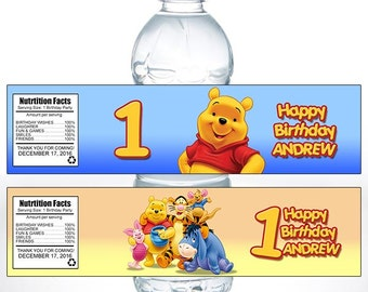 PRINTABLE Custom Bottle Label, Pooh, Birthday, Party, Water, Bottle, Label, DIY