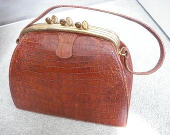 1940s mock croc handbag in three sections