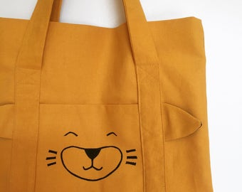 Tote bag, cute animal pattern, hand-printed, canvas bag, hand bag