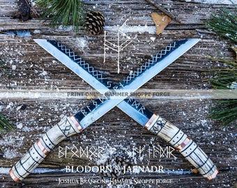 Blodorn & Jafnadr  Viking Seax Pair PRINT ONLY (past work)