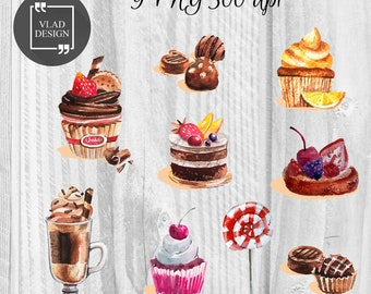 9 Sweets Clipart Cupcake Clipart Digital Cupcake Elements Sweets graphics Candy clipart Chocolate Wedding cupcakes Birthday cupcakes Candy
