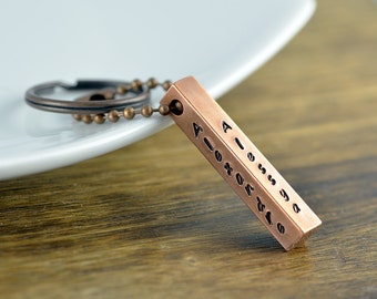 Copper Bar, Custom Keychain, Mens Keychain, Mens Gift, Bar Keychain, Handstamped Keychain, Gifts for Dad, Gifts for Him, Copper Keychain