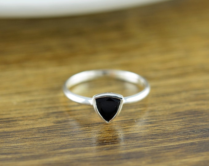 Sterling Silver Trillion Black Onyx Ring - Black Onyx Ring - Boho Ring - Boho Jewelry - Gemstone Ring - Trillion Ring - Stacking Rings