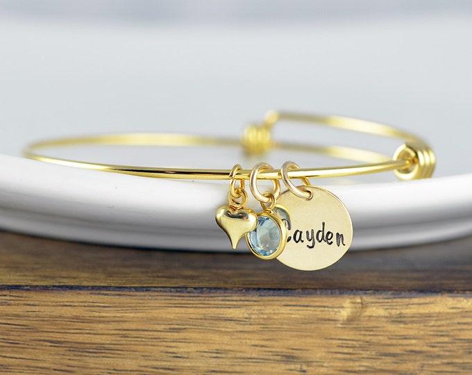 Mothers Birthstone Bracelet - Gold Mothers Jewelry - Name Birthstone Bracelet - Gold Name Bangle Bracelet - Hand Stamped Bangle Bracelet