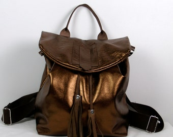 Golden brown leather backpack