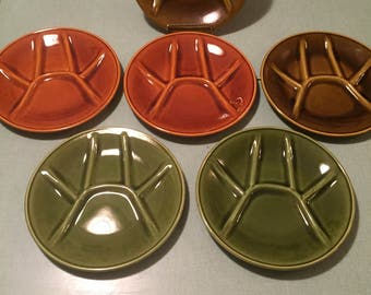 Vintage 1950's Ceramic Fondue Plates BOCH FRERES. Set of 6
