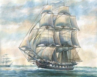 "Ship Brig ""Phoenix"" Watercolour Ship Watercolor painting"