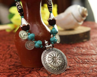 tribal and turquoise necklace