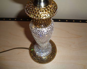 Crystalised lamp hand encrusted with over 2,500 genuine, authentic  Czech gold and clear crystals