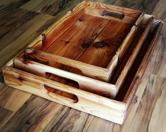 Reclaimed Wood Nesting Trays, Serving Trays, Display Trays, Decor Trays, Rustic Trays, Party Trays, Wood Trays Set, Stacking Trays