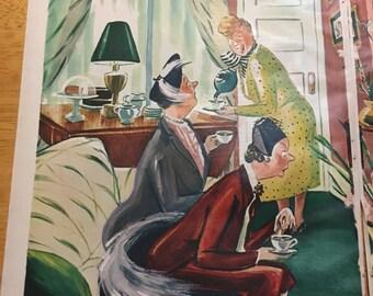 1954 Esquire Magazine Art - FREE DOMESTIC SHIPPING - Vintage Magazine Art - Color Vintage Magazine Art - Vintage Cartoon Comic