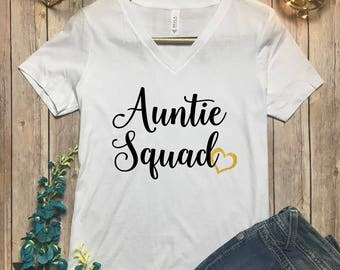 Aunt Squad Shirt - Auntie Squad Vneck - Best Aunt Tee - Proud New Auntie Shirt - New Aunt Gift - Auntie Shirt - New Auntie Tee