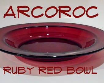Arcoroc Ruby Red Bowl, Made in France, TOMPLAT
