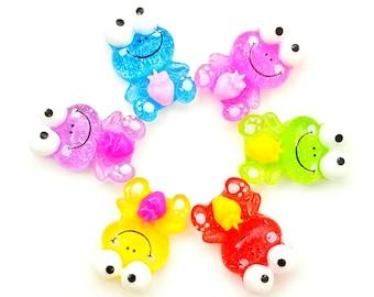 3pcs- 23mm frog cabochons flatback adorable colorful random mixed colors decoden jewelry embellishment scrapbooking