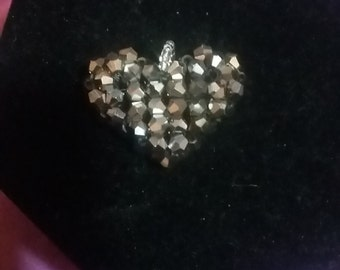 silver crystal heart pendant
